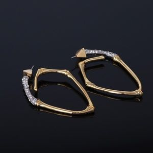 Alexis Bittar Crystal Bamboo Hoop Earrings